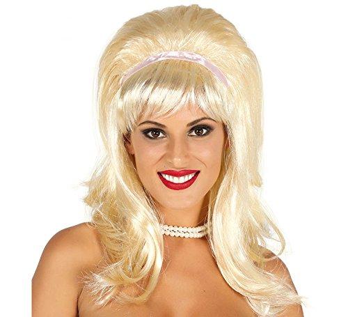 Guirca Blonde Langhaar Perücke 50er Mädchen Popsängerin Karneval Motto Party Zubehör für Damen Blond (Mädchen Mal Perücke)