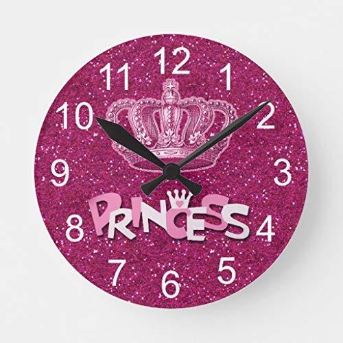 HSSS Sparkly Hot Pink Princess Glitzer Vintage Crown Runde Holz Wanduhr 30,5 cm für Zimmerdekoration