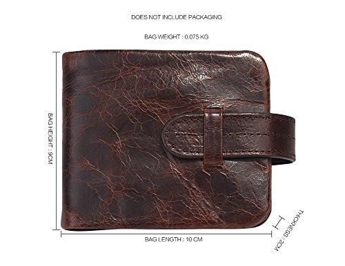 H&W Bifold Öl Wachs Leder Brieftasche kurz Stil Braun-1