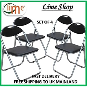 51gAc6qosLL. SS300  - Premier Housewares BY PRIME FURNISHING 2 X Folding Black Chair Faux Leather Padded Seat