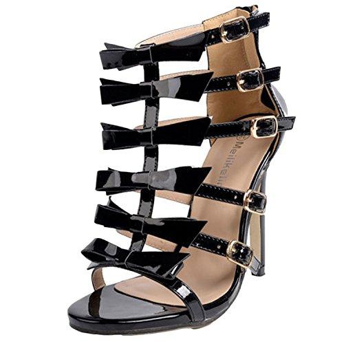 Oasap Women's High Stiletto Heels Bow Gladiator Sandals Black
