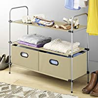 Top Home Solutions 3 Tier Free Standing Closet Organiser Wardrobe Clothes Shoe Storage Drawer Rack, 3 Fabric Shelves with 2 Collapsible Bins (Beige)