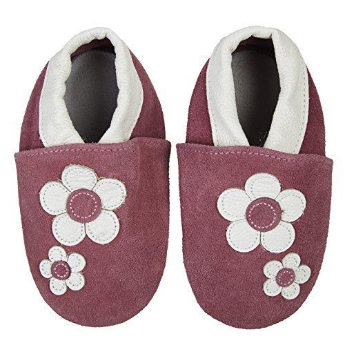 SmileBaby Premium Leder Lauflernschuhe Krabbelschuhe Babyschuhe Violett Blumen 18 bis 24 Monate