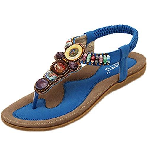 Minetom Donne Sandali Perline Abbellimento Boemo Stile Scarpe Spiaggia Sandali Estate Blu 41