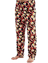 Mens Fancy Fun Breakfast Printed Fleece Pyjama Trouser Bottoms Pants (Black) L