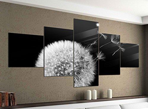 Leinwandbild 5 tlg. 200cmx100cm Pusteblume fliegende Samen Blume schwarz weiß Bilder Druck auf Leinwand Bild Kunstdruck mehrteilig Holz 9YA2141, 5Tlg 200x100cm:5Tlg 200x100cm