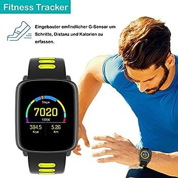 Yamay Smartwatch Bluetooth Smart Watch Uhr Mit Pulsmesser Armbanduhr Wasserdicht Ip68 Fitness Tracker Armband Sport Uhr Fitnessuhr Mit Schrittzähler,schlaf-monitor,setz-alarm,stoppuhr,sms-, Anruf-benachrichtigung Pushkamera-fernsteuerung Musik Für Android Und Ios Telefon 4
