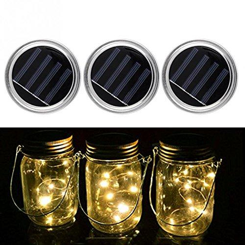 3 Stück Solar Mason Jar Lights, Led String Fairy Lights, Solar powered LED Gartentisch Outdoor Hängende Laterne Lichter, Lampen für Patio Party Weihnachten Urlaub Hochzeit Dekorationen (warmweiß)