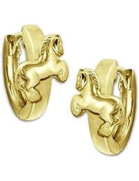 Clever - Pendientes de aro bañados en oro para niños, diámetro de 12 mm, diseño de caballo con cierre de clip, plata de ley 925