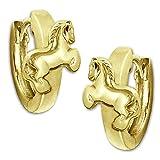 CLEVER SCHMUCK Vergoldete Kindercreole Ø 12 mm Pferd auf Klappcreole glänzend STERLING SILBER 925 gold-plattiert