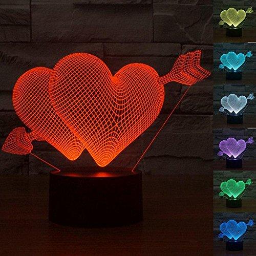 Pfeil-Liebe 3D Illusion Lampe führte Nacht Licht mit 7 Farben blinken & Touch-schalter USB-Stromversorgung Schlafzimmer Licht Schreibtischlampe Lampen für Kinder Geburtstag Geschenke Haus Dekoration (3d Pfeil)