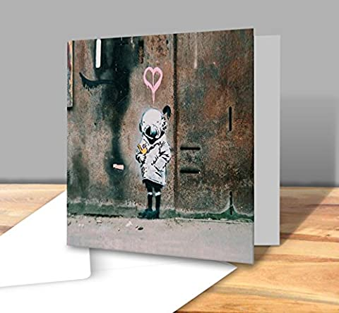 Child Wearing Diving Helmet Standing Under Pink Heart And H