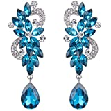 Clearine Damen Böhmisch Kristall Blume Hochzeit Braut Chandelier Tropfen Bling Dangle Statement Ohrringe Blau