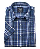 Savile Row Men's Blue Check Short Sleeve Casual Slim Fit Shirt Large