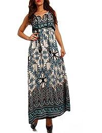 Damen Maxikleid Kleid mit Träger Allover Print, Farbe:Petrol/Paisley;Größe:One Size