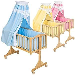 TecTake Komplette Babywiege Kinderbett Stubenbett Schaukelwiege inkl. Zubehör -diverse Farben- (Blau)
