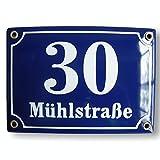 Hausnummer Hausnummernschild Emaille 15x20 cm mit Wunschstraßennamen und Nummer