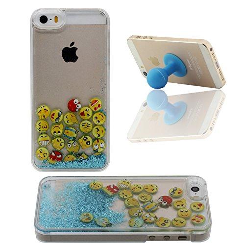 Poudre Bling Emoji Flottante iPhone 5 5S SE Coque Étui de Protection Dur PC Plastique Transparente Désign Eau Liquide avec 1 Silicone Titulaire bleu
