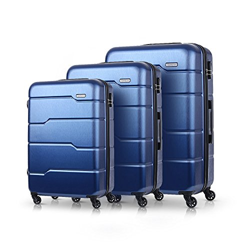 TOMSHOO Luxury 3PCS Spinner Bagagli Set Shell Hard 20'/ 24' / 28'Carry-on Valigia PC + ABS Trolley W/Combination Lock