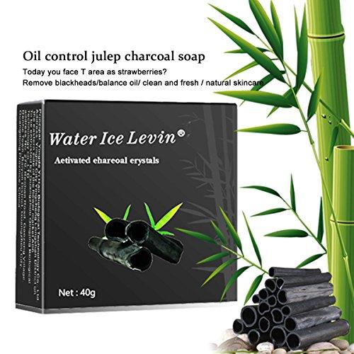 Savon artisanal naturel fait à la main de charbon de bambou de HJR, nettoyant de visage et de corps, contrôle d'huile et point noir nettoient, avantages tous les types de peau 40g