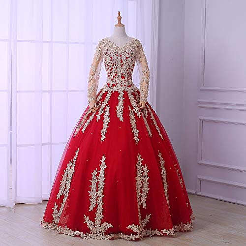 QAQBDBCKL Rot mit Champagner Bestickt Ballkleid Mittelalter Renaissance Kleid Königin Kostüm viktorianischen Kleid (Mädchen Renaissance Königin Kostüm)