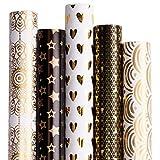 RUSPEPA Geschenkpapier Roll-White Und Schwarz Mit Goldfolienmuster Für Hochzeit, Geburtstage, Valentines, Weihnachten-5 Roll-76 X 305 cm Pro Rolle