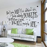 V&C Designs Ltd (TM Alice in Wonderland The Mad Hatter Have I Gone Mad? Quote Large Statement Wall Sticker Mural Vinyl Decal