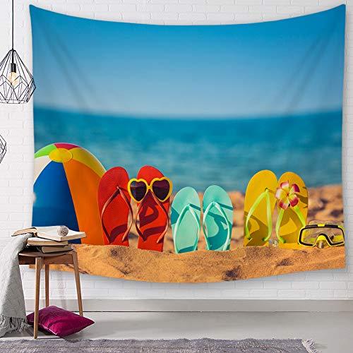 Rjjdd Polyester Tropical Seaside Landschaft Muster Wandtuch Hängende Tapisserie Hochzeit Geschenk Tagesdecke Strand Handtuch Yoga Picknick Matte Nordisch 200x150 cm
