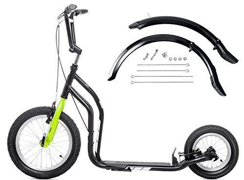 Scooter Yedoo City New Black/Green 16/12 Zoll mit Schutzblech Set