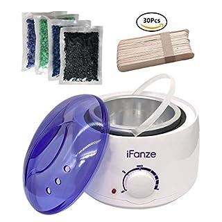 Wax enthaarung, Wachswärmer / Wachserhitzer mit 4X100g Wachsperlen für haarentfernung, iFanze Komplett Wachs Haarentfernung set - schmerzfrei - einfach und schnell