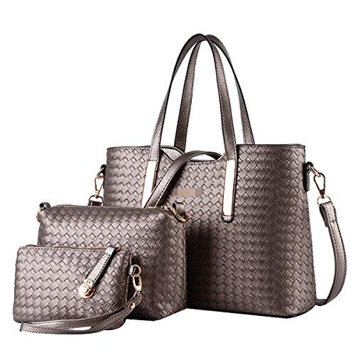 Metallic Pu-geldbeutel-handtasche (Frauen Mode Gewebt 3 Stück Handtasche Schulter Crossbody Tasche Satchel Pu Leder Geldbörse Taschen Mehrfarbig,Metallic-M)