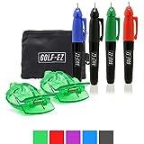Golf-EZ - Juego de Herramientas de alineación para marcar y marcar Pelotas de Golf con Juego de 4 marcadores y Funda de Transporte
