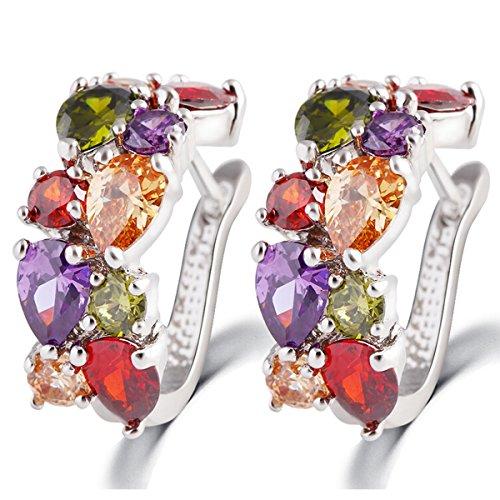 Butterme Elegante fibbia orecchio colorati squisita cristallo presente placcato oro zirconi perno regalo gioielli orecchino Donne-Oro bianco