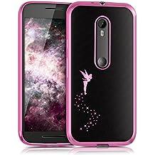 kwmobile Funda TPU silicona transparente para Motorola Moto G (3. Generation) en rosa fucsia transparente Diseño hada