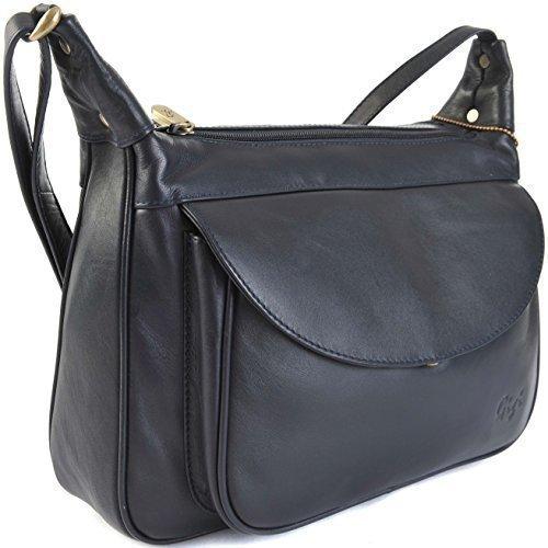 GIGI Othello Leder Schulter Crossbody Handtasche 22-17 Verschiedene Farbkombinationen - Leder, Marineblau, Unisex-Erwachsene, L, L (Voll-leder-schulter-handtasche)
