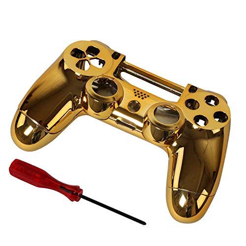Timorn Replacement Chrome Beschichtung Gehäuse Shell Parts Case Kit Abdeckung für PS4 Controller DualShock 4, Gold