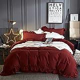 Duvet Cover Luxuriös Bettwäsche Set Bettbezug-Set Kissenbezüge 100% Baumwolle Weich Bequem,Deep-purple-200X230CM