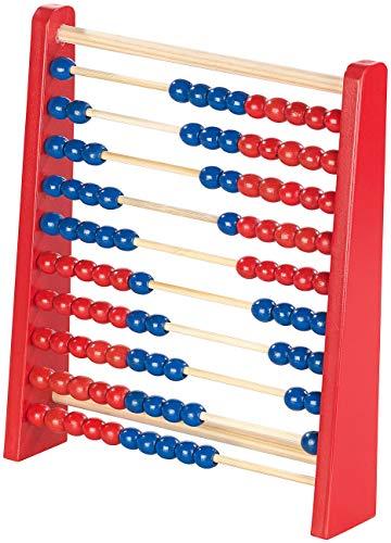 Playtastic Lernspielzeug Holz: Holz-Rechenschieber mit 100 Holzperlen, 2 Farben (blau & rot) (Learnspielzeug)