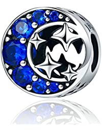 Abalorio de plata de ley 925 para pulsera europea Pandora con luna y estrella azul, con circonia cúbica