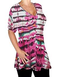 EyeCatch - Amber Ladies V Neck Multi Print Blouse Tunic Womens Swing Fashion Flared T-Shirt Top