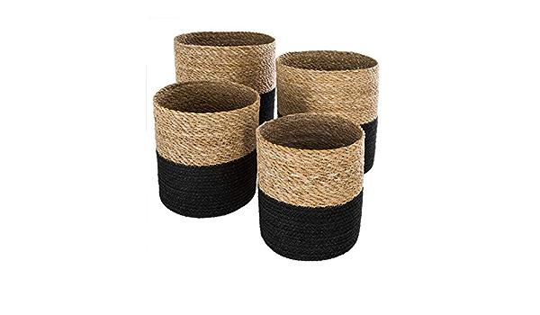 Sunneey Panier Seagrass Panier Tiss/é par Seagrass Corbeille /à Fruits Nordique Simple et Portable Panier de Rangement Tress/é Pliable en Jonc de Mer Naturel