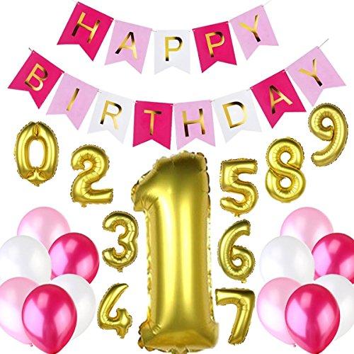 Hochwertiges Geburtstagsdeko / Kindergeburtstag Deko / Geburtstag Dekoration Set für Mädchen. 1 Happy Birthday Wimpelgirlande / Girlande + 10 Folienballons alle Zahlen von 0 bis 9 + 12 Große Geperlte (Ideen Bday Prinzessin Party)
