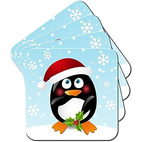 Vacanze di Natale Stagione pinguini/Set di sottobicchieri, Acrilico, Penguin Holding Holly, 6 x