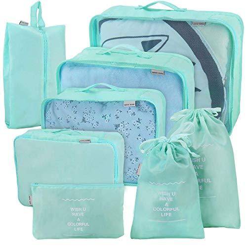 Joyoldelf 8 stück Kleidertaschen, verbesserte Koffer Gepäck Aufbewahrung Taschen Organiser für trockene Kleidung, Schuhe, Unterwäsche, Kosmetik, Bücher, Süßigkeiten und andere Zubehör (Hellblau)