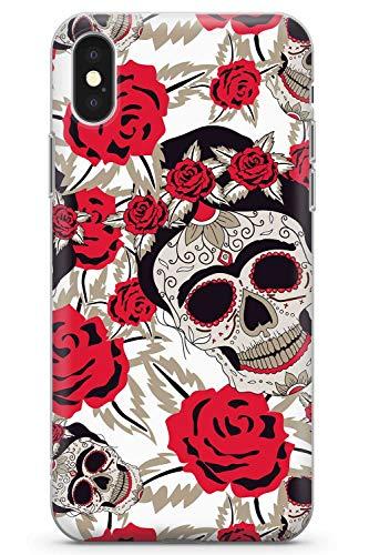 Max Muster Kostüm - iPhone XS MAX Case Zuckerschädel-Muster | Transparente ultradünne leichte TPU-Schutzhülle aus Gel-Silikon | Tag Der Toten Dia De Muertos Mexikaner Kunst Kostüm