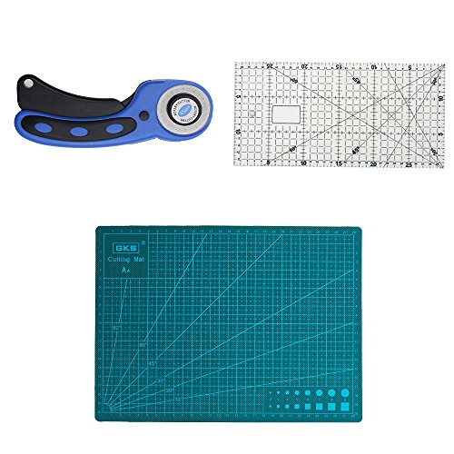 Eagles Tapis de découpe 280 x 200 x 3mm + 30 x 15cm Règle acrylique + Cutter Rotatif 45mm,paquet de 3 accessoires de coupe