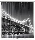 Wenko 22325100 LED Duschvorhang Brooklyn Bridge waschbar, mit 12 Duschvorhangringen, Polyester, Mehrfarbig, 180 x 200 cm