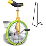 "ReaseJoy 20"" Wheel Trainer Unicycle 1.75"" Skidproof Butyl Mountain Tire Balance Cycling Exercise with Free Stand Yellow"