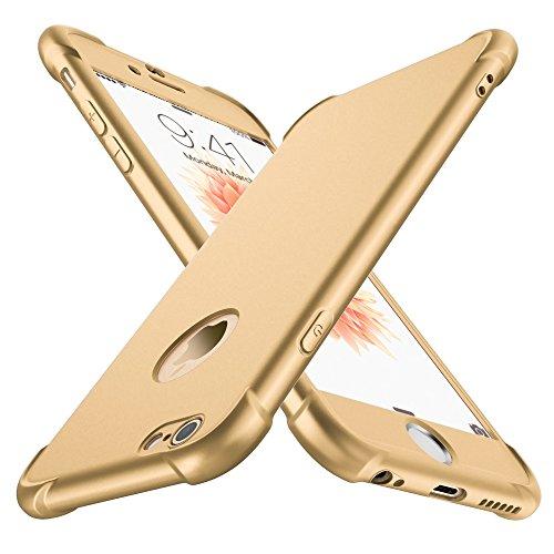 ORETECH Coque iPhone 6/6S, avec [2-Pièces Protecteur D'écran en Verre Trempé] iPhone 6/6S Housse Hybride Robuste 2 en 1 Antichoc Ultra Mince Mat Anti-Rayures Dur PC+TPU pour iPhone 6/6S Case 4.7'' Or