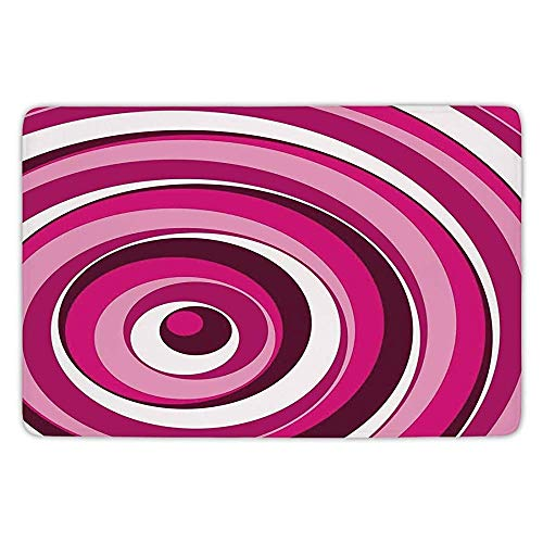 Klotr Fußabtreter, Kitchen Floor Mat Carpet,Abstract,Vibrant Spiral Turning Circles Bands in Various Shades Creative Artwork,Maroon Hot Pink White,Flannel Microfiber Non-Slip Soft Absorbent - 120 X Spiral-band